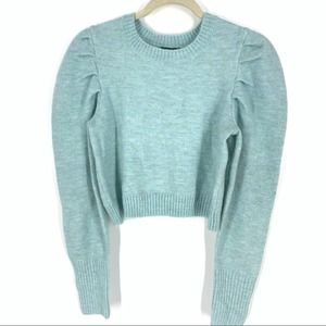 Wild Fable Blue Crop Sweater Puff Pleated Sleeve L